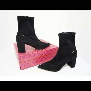 Tory Burch Black Suede Ankle Boots Size 9 M